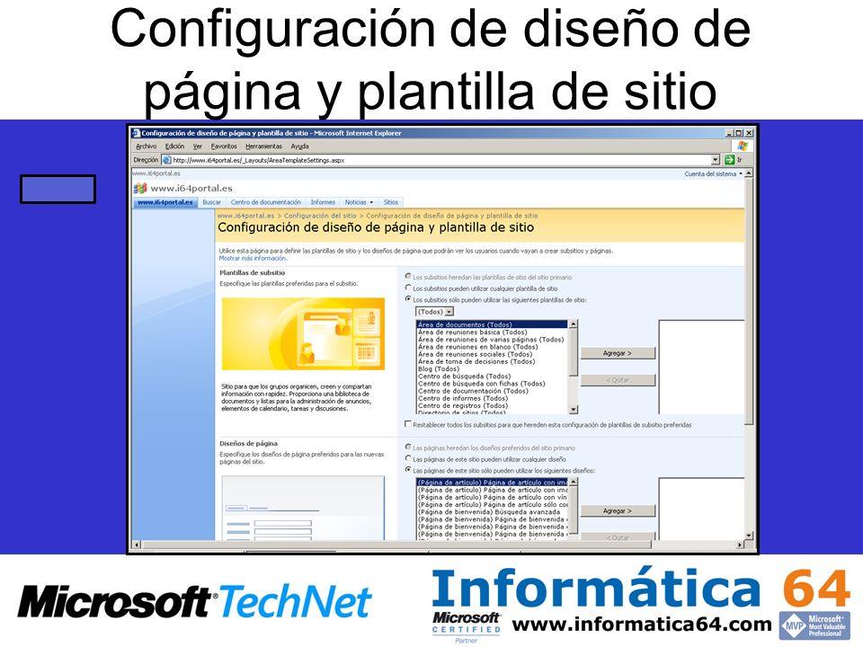 Configuración de diseño de página y plantilla de sitio