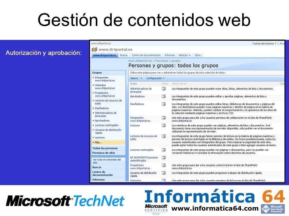 Gestión de contenidos web Autorización y aprobación: