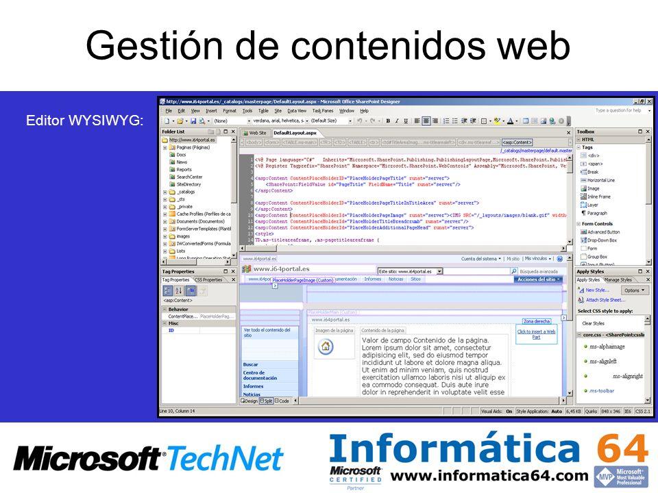 Gestión de contenidos web Editor WYSIWYG:
