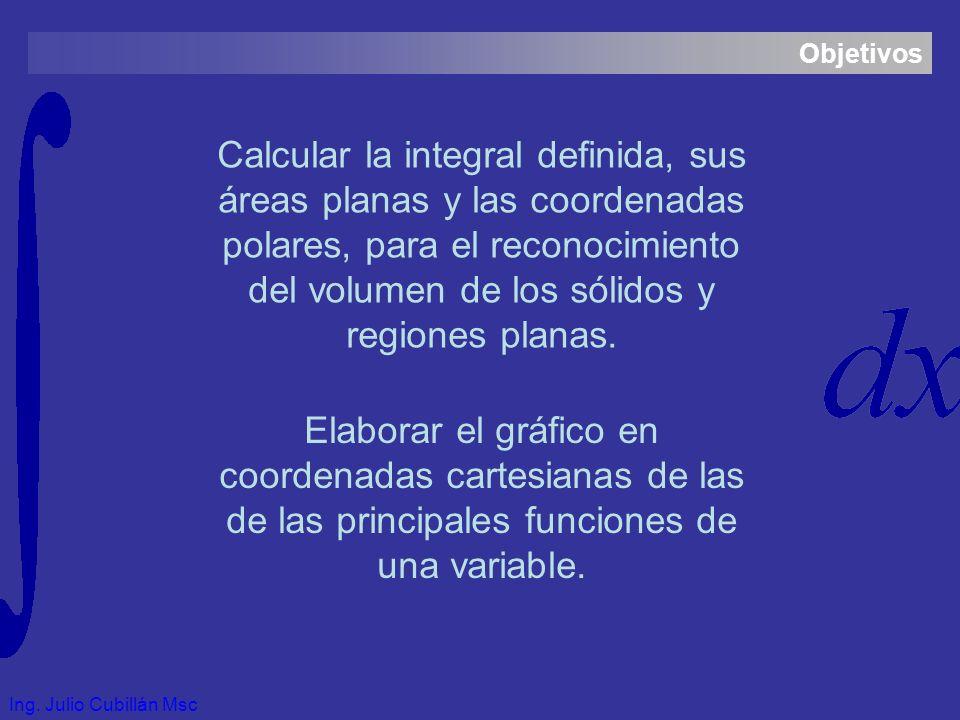 Objetivos Calcular la integral definida, sus áreas planas y las coordenadas polares, para el reconocimiento del volumen de los sólidos y regiones planas.