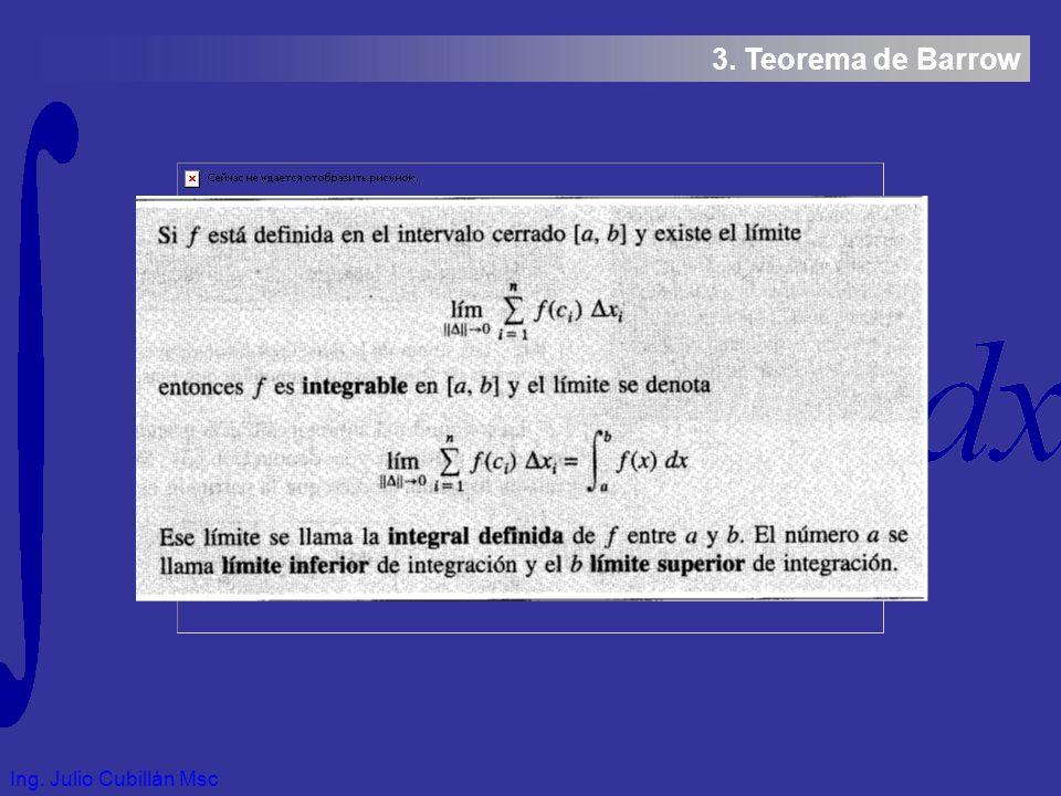 Ing. Julio Cubillán Msc 3. Teorema de Barrow