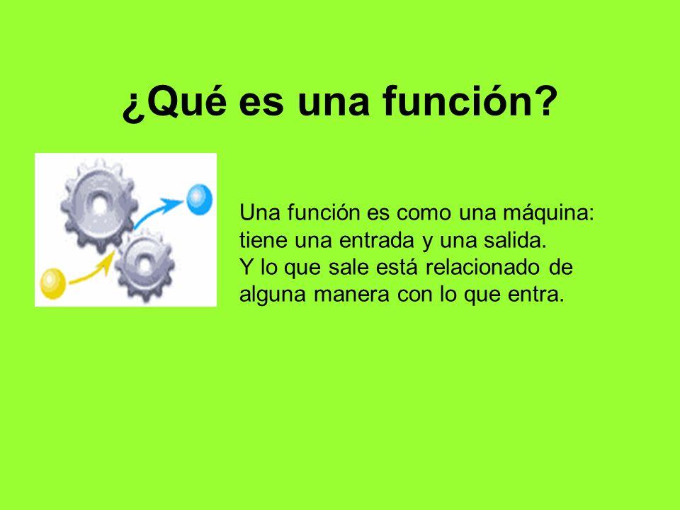 ¿Qué es una función? Una función es como una máquina: tiene una entrada y una salida. Y lo que sale está relacionado de alguna manera con lo que entra