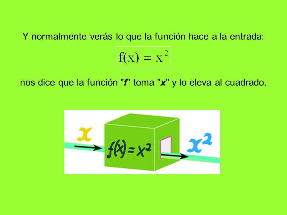 Y normalmente verás lo que la función hace a la entrada: nos dice que la función
