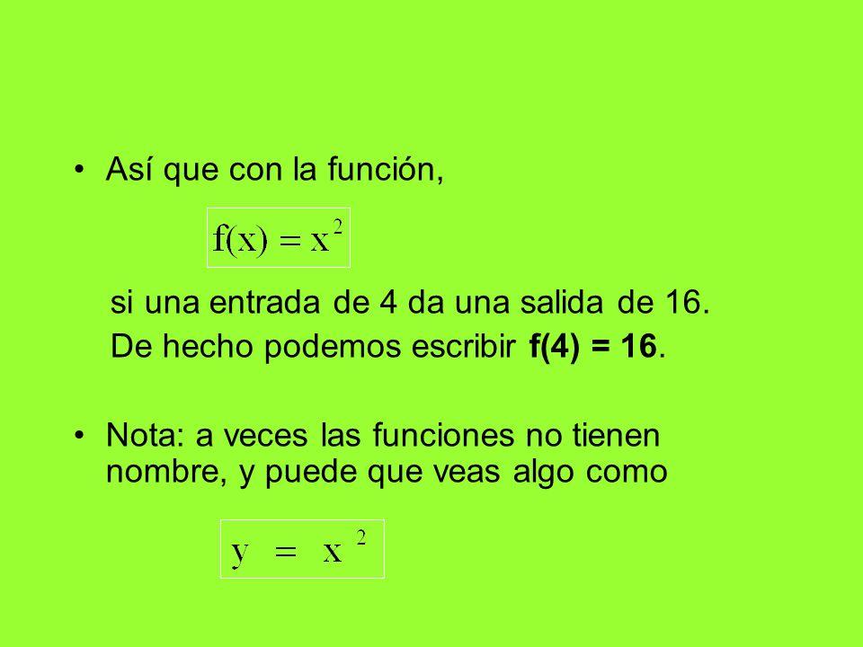 Así que con la función, si una entrada de 4 da una salida de 16. De hecho podemos escribir f(4) = 16. Nota: a veces las funciones no tienen nombre, y