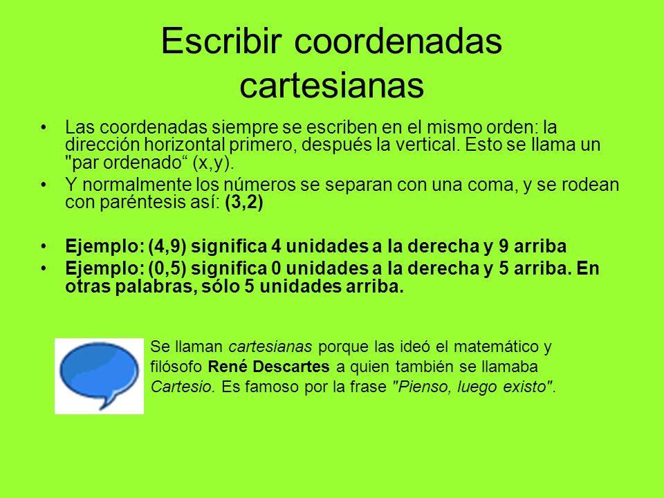 Escribir coordenadas cartesianas Las coordenadas siempre se escriben en el mismo orden: la dirección horizontal primero, después la vertical. Esto se