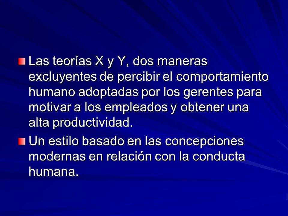 Las teorías X y Y, dos maneras excluyentes de percibir el comportamiento humano adoptadas por los gerentes para motivar a los empleados y obtener una