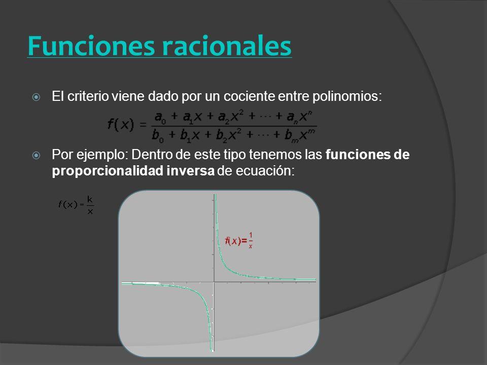 Funciones racionales El criterio viene dado por un cociente entre polinomios: Por ejemplo: Dentro de este tipo tenemos las funciones de proporcionalid