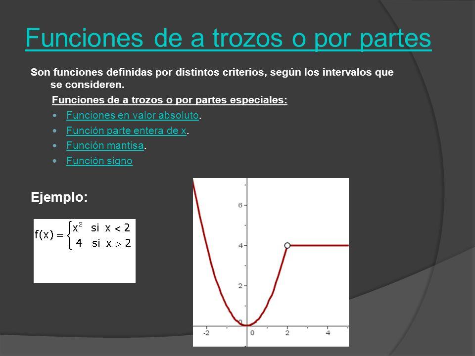 Funciones de a trozos o por partes Son funciones definidas por distintos criterios, según los intervalos que se consideren. Funciones de a trozos o po