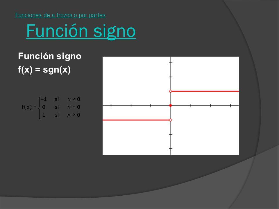 Funciones de a trozos o por partes Función signo f(x) = sgn(x)