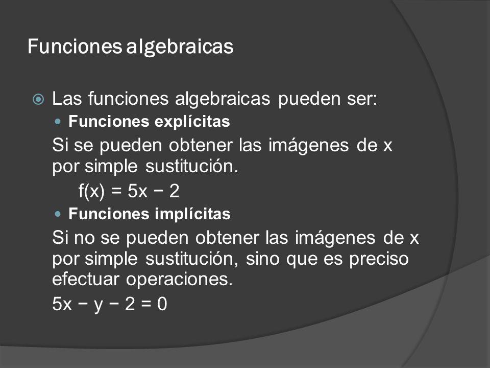 Funciones algebraicas Las funciones algebraicas pueden ser: Funciones explícitas Si se pueden obtener las imágenes de x por simple sustitución. f(x) =