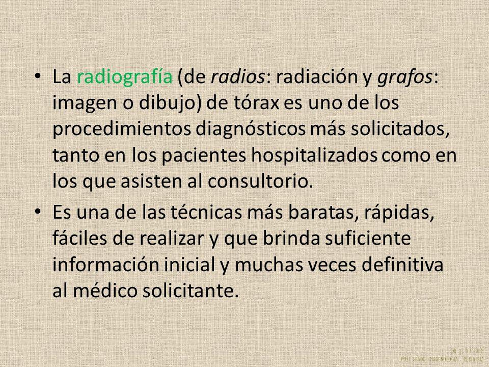 DR. J. YEE GUIM POST GRADO IMAGENOLOGIA - PEDIATRIA La radiografía (de radios: radiación y grafos: imagen o dibujo) de tórax es uno de los procedimien