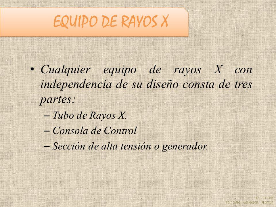 DR. J. YEE GUIM POST GRADO IMAGENOLOGIA - PEDIATRIA EQUIPO DE RAYOS X Cualquier equipo de rayos X con independencia de su diseño consta de tres partes