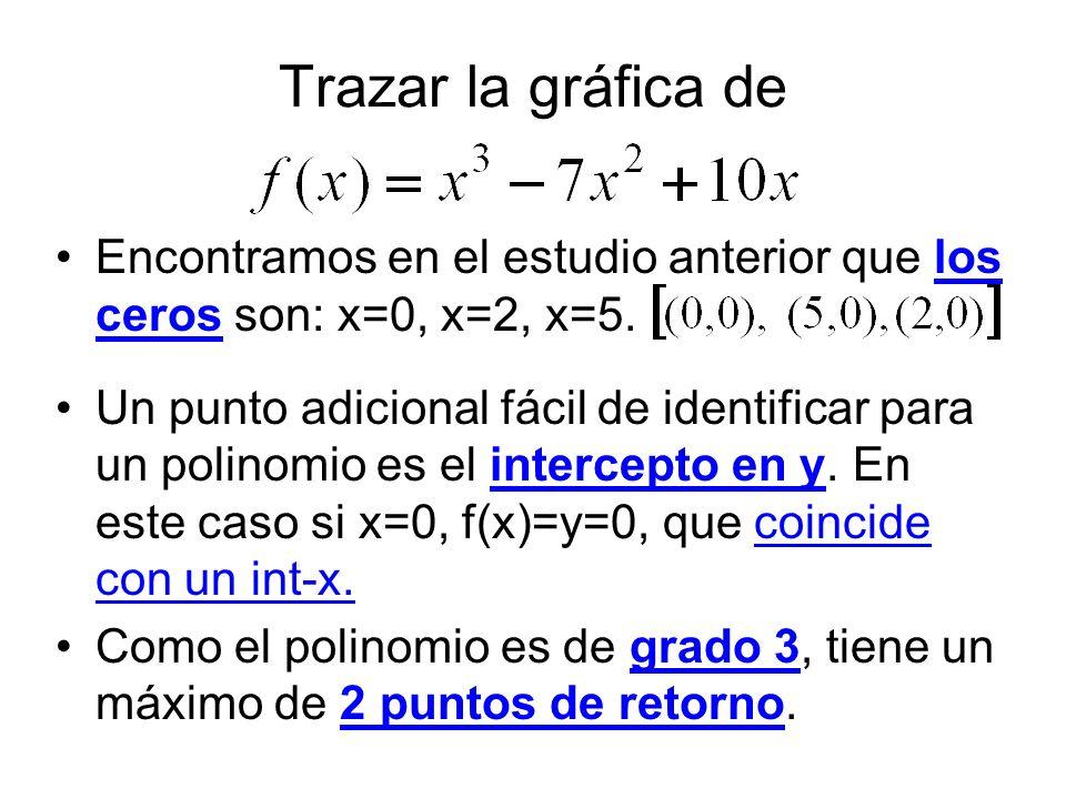 Trazar la gráfica de Encontramos en el estudio anterior que los ceros son: x=0, x=2, x=5. Un punto adicional fácil de identificar para un polinomio es