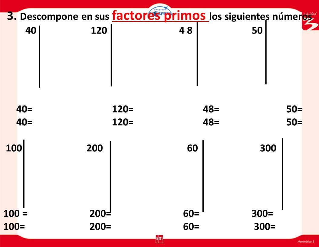 2. Escribe el Máximo Común Divisor( M.C.D)de los siguientes números. D60 = { } D30 = { D.C (60 y 30) = { } M.C.D( 60 y 30) = { } D80 = { } D40 = { D.C