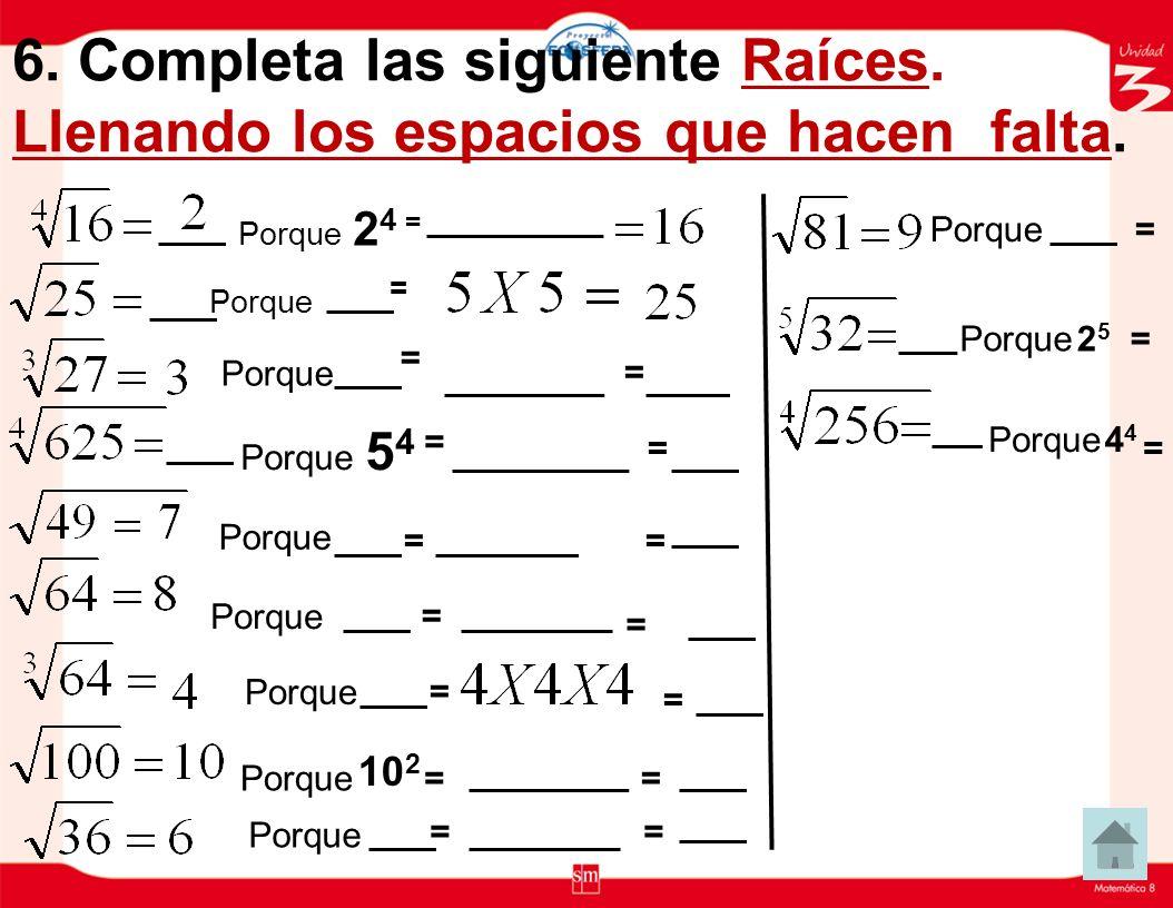 5. Escribir como producto de factores iguales y dar el resultado: Potencia a ). 5 3 = = h). 7 2 = = b). 4 2 = = i). 8 4 = = c). 2 7 = = j). 6 4 = = d)