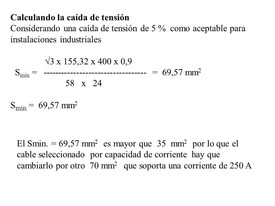 Calculando la caída de tensión Considerando una caída de tensión de 5 % como aceptable para instalaciones industriales 3 x 155,32 x 400 x 0,9 S min =