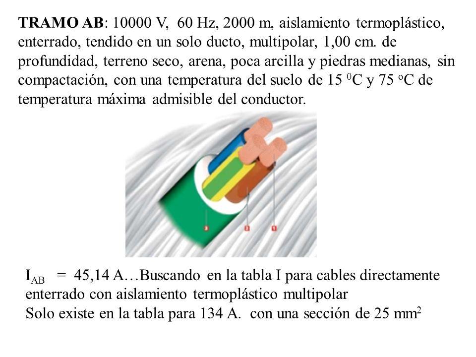 TRAMO AB: 10000 V, 60 Hz, 2000 m, aislamiento termoplástico, enterrado, tendido en un solo ducto, multipolar, 1,00 cm. de profundidad, terreno seco, a