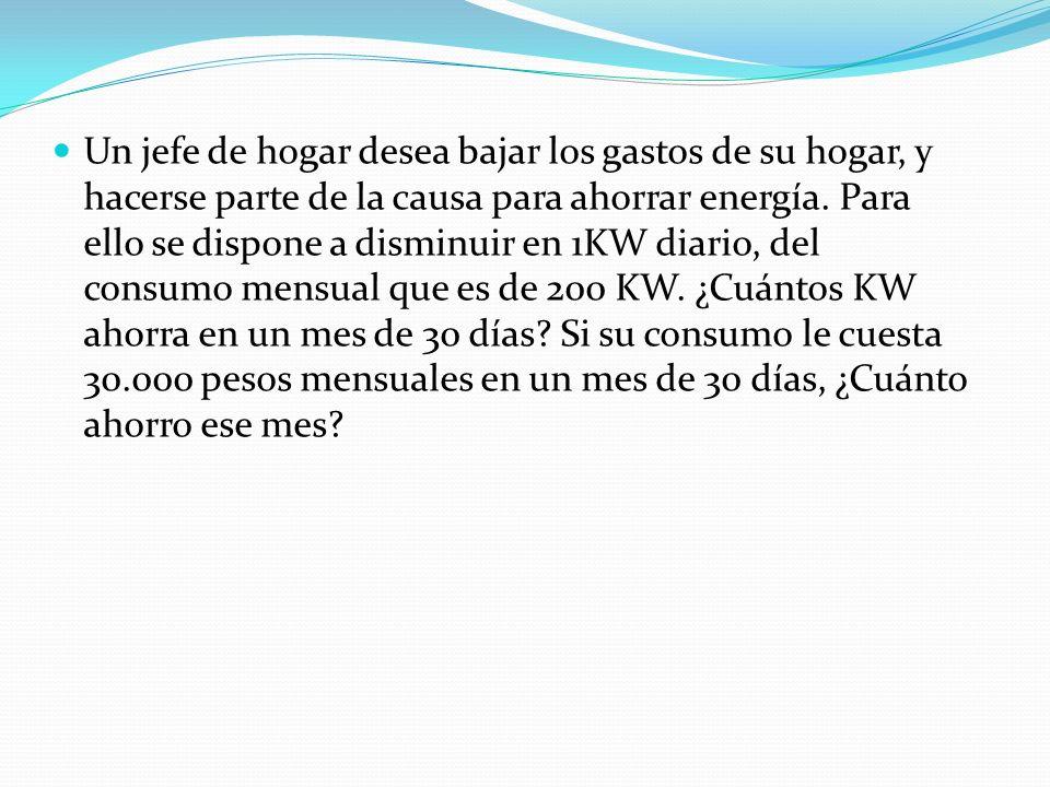 Solución: 1KW x Cantidad de días = incógnita 1 KW x 30 = x => x = 30 KW,.:.