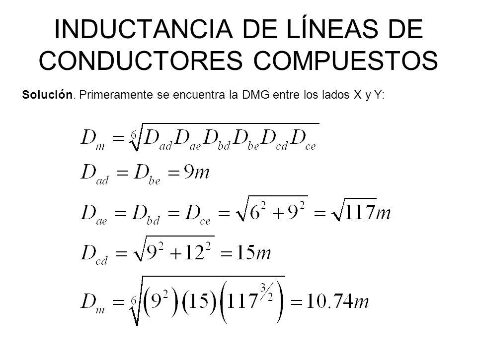 INDUCTANCIA DE LÍNEAS DE CONDUCTORES COMPUESTOS Solución. Primeramente se encuentra la DMG entre los lados X y Y:
