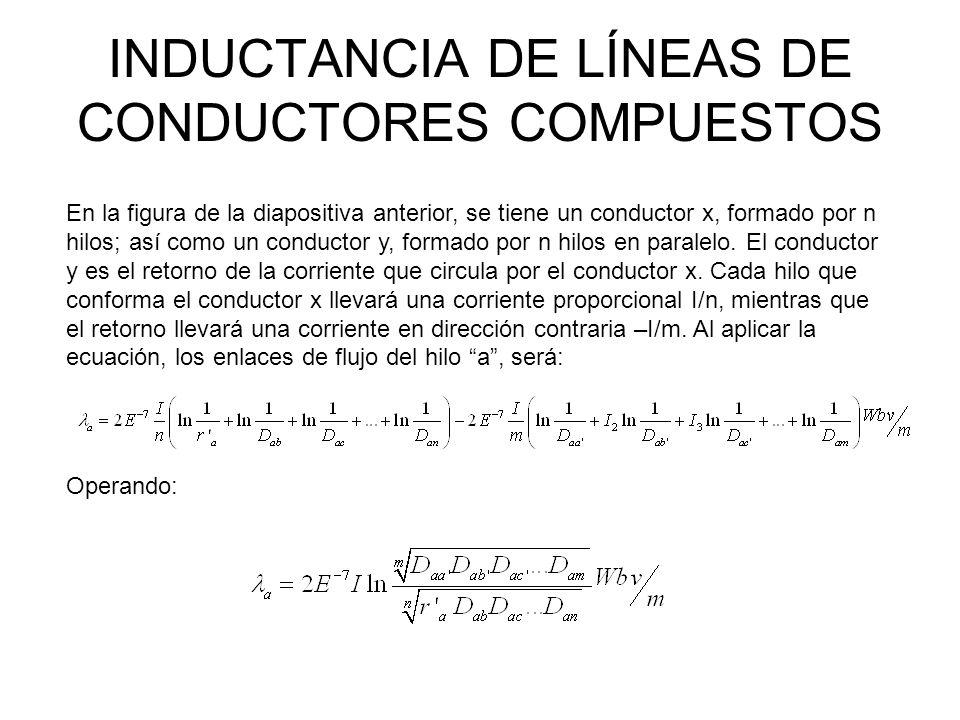 INDUCTANCIA DE LÍNEAS DE CONDUCTORES COMPUESTOS Para obtener la inductancia del hilo a: De la misma manera, la inductancia del hilo b La inductancia promedio de los hilos del conductor x es