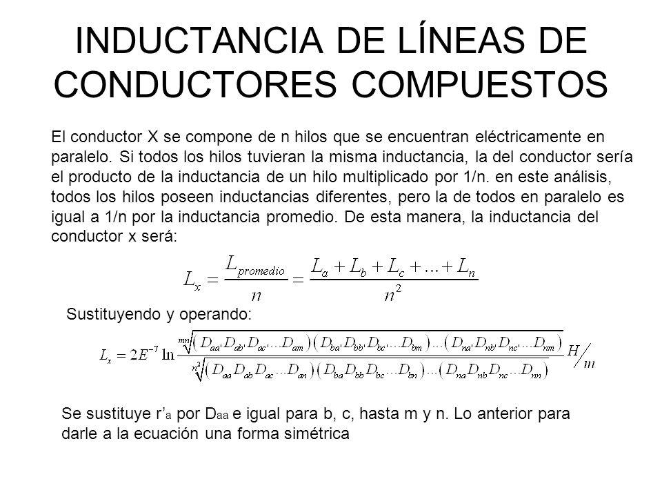 INDUCTANCIA DE LÍNEAS DE CONDUCTORES COMPUESTOS Obsérvese que el numerador del argumento del logaritmo de la ecuación anterior es la raíz mn-ésima de mn términos, que son los productos de las distancias desde todos los n hilos del conductor X hasta todos los m hilos del conductor Y.