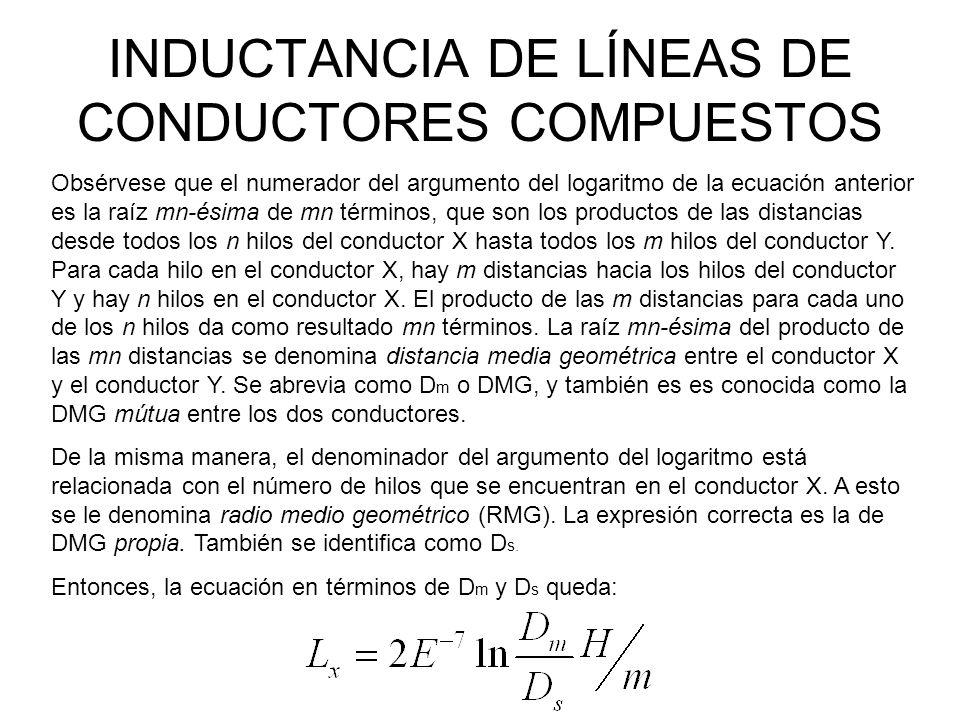 INDUCTANCIA DE LÍNEAS DE CONDUCTORES COMPUESTOS Obsérvese que el numerador del argumento del logaritmo de la ecuación anterior es la raíz mn-ésima de