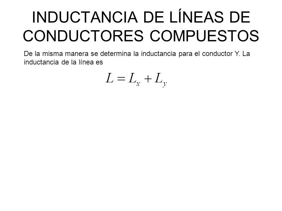 INDUCTANCIA DE LÍNEAS DE CONDUCTORES COMPUESTOS Ejemplo: El circuito de una línea de transmisión monofásica se compone de tres conductores sólidos de radio 0.25 cm.
