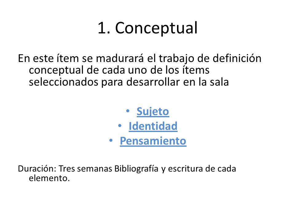 1. Conceptual En este ítem se madurará el trabajo de definición conceptual de cada uno de los ítems seleccionados para desarrollar en la sala Sujeto I