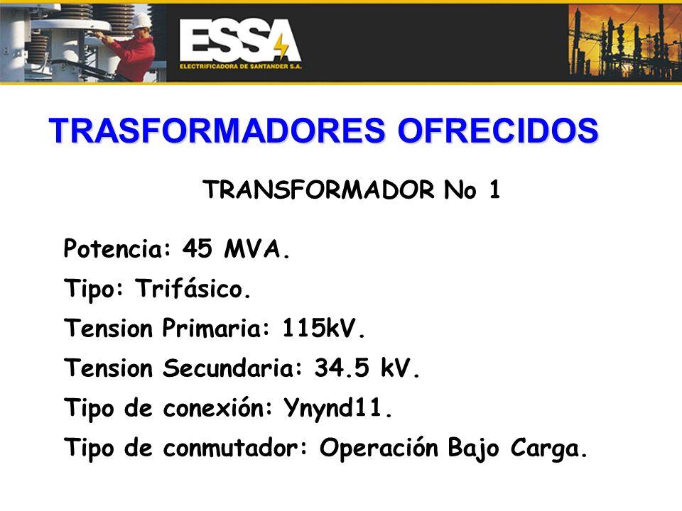 TRASFORMADORES OFRECIDOS TRANSFORMADOR No 1 Potencia: 45 MVA. Tipo: Trifásico. Tension Primaria: 115kV. Tension Secundaria: 34.5 kV. Tipo de conexión: