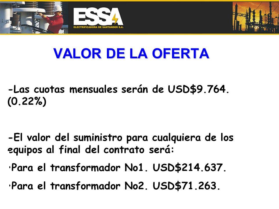 VALOR DE LA OFERTA -Las cuotas mensuales serán de USD$9.764. (0.22%) -El valor del suministro para cualquiera de los equipos al final del contrato ser