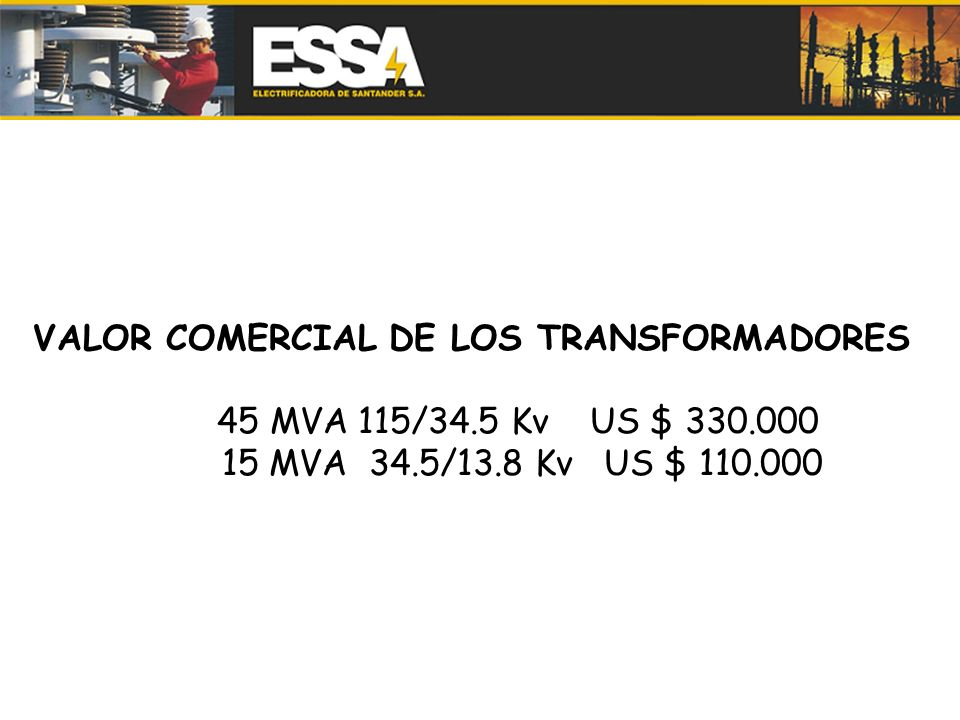 VALOR COMERCIAL DE LOS TRANSFORMADORES 45 MVA 115/34.5 Kv US $ 330.000 15 MVA 34.5/13.8 Kv US $ 110.000