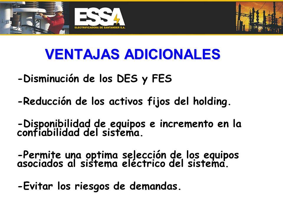 VENTAJAS ADICIONALES -Disminución de los DES y FES -Reducción de los activos fijos del holding. -Disponibilidad de equipos e incremento en la confiabi