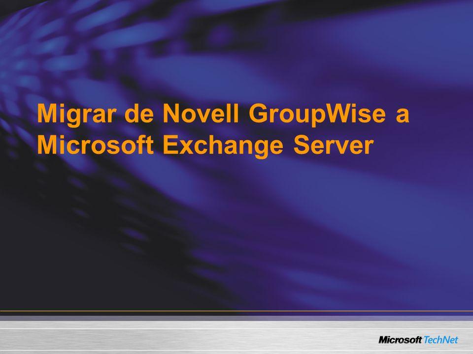 Un ejemplo real Capgemini Benelux Más de 8000 buzones de GroupWise 6 (+300 GB) Más de 5000 archivos locales 11 Oficinas de correo en 6 servidores, 2 servidores POP3 y 2 servidores Webmail Política de la compañía para estandarizar a la tecnología Microsoft