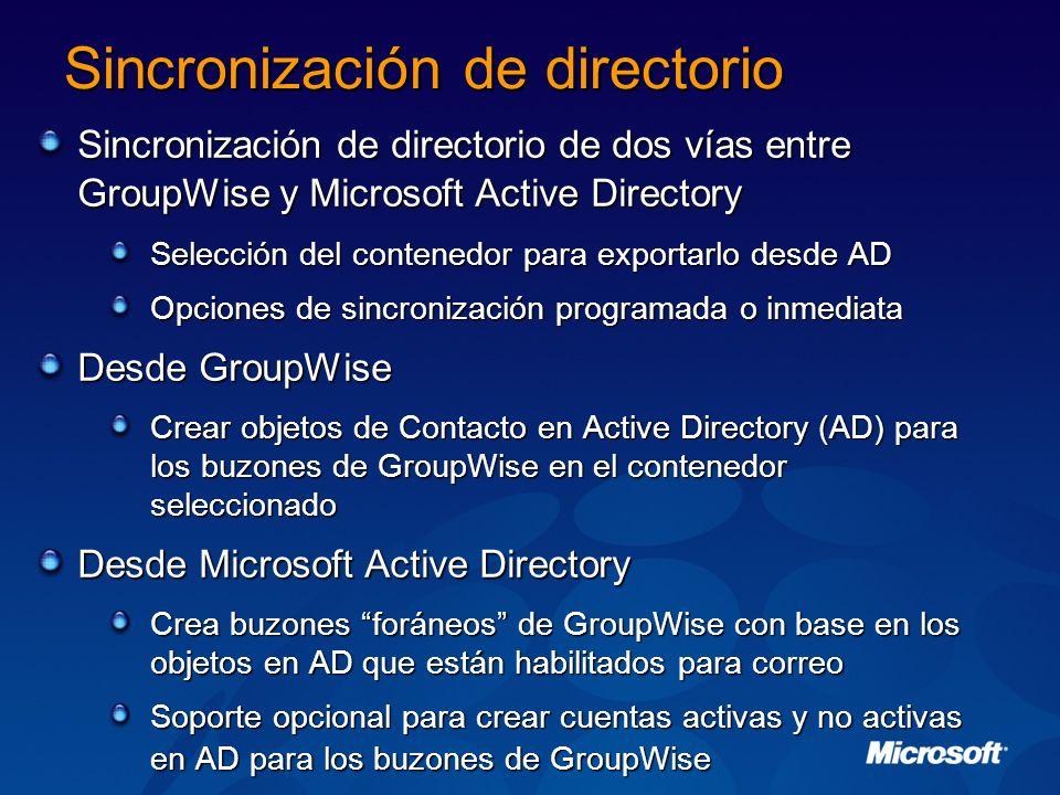 Sincronización de directorio Sincronización de directorio de dos vías entre GroupWise y Microsoft Active Directory Selección del contenedor para expor