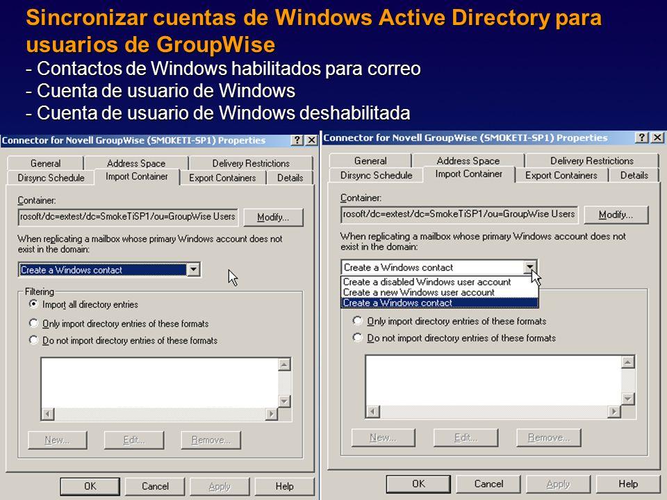 Sincronizar cuentas de Windows Active Directory para usuarios de GroupWise - Contactos de Windows habilitados para correo - Cuenta de usuario de Windo