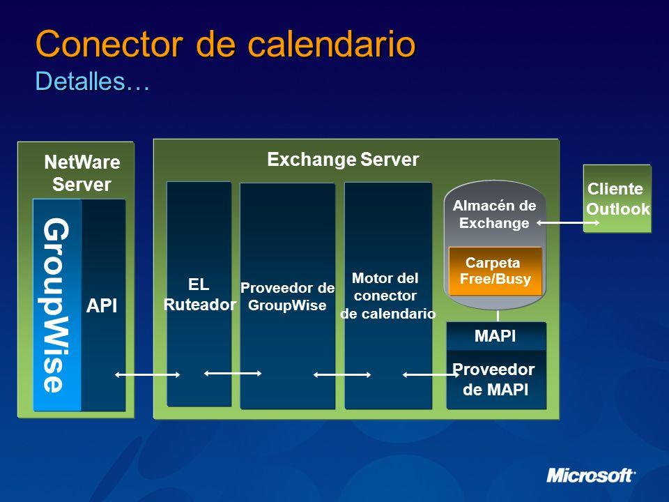 Conector de calendario Detalles… Exchange Server Proveedor de GroupWise Motor del conector de calendario Proveedor de MAPI Almacén de Exchange Carpeta