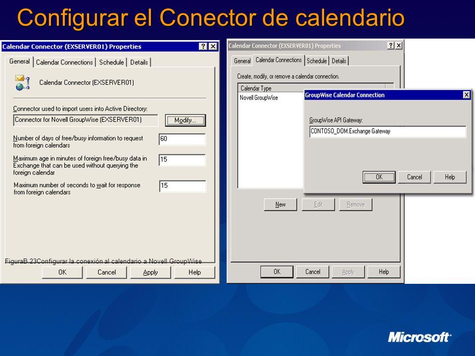 Configurar el Conector de calendario FiguraB.23Configurar la conexión al calendario a Novell GroupWise