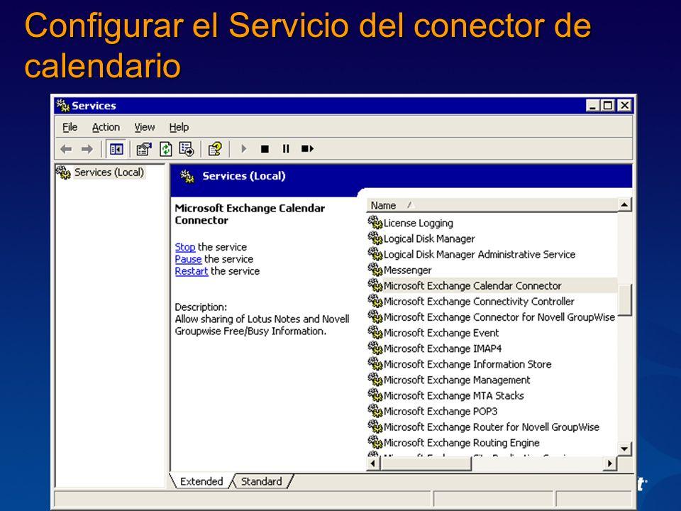 Configurar el Servicio del conector de calendario