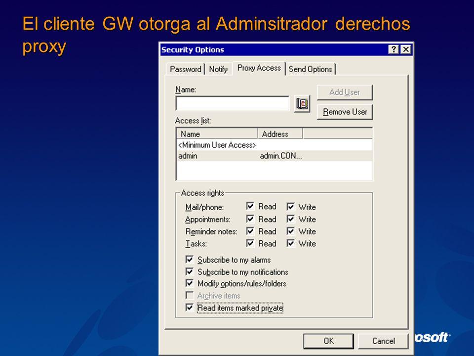 El cliente GW otorga al Adminsitrador derechos proxy