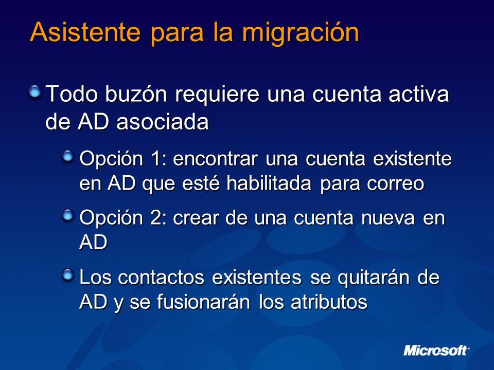 Asistente para la migración Todo buzón requiere una cuenta activa de AD asociada Opción 1: encontrar una cuenta existente en AD que esté habilitada pa