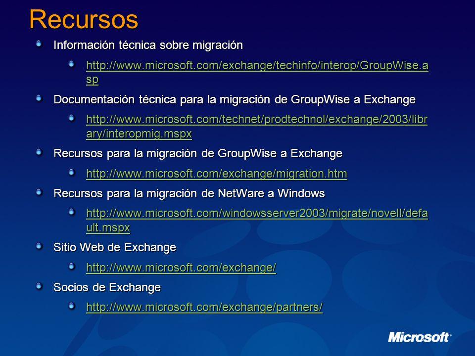 Recursos Información técnica sobre migración http://www.microsoft.com/exchange/techinfo/interop/GroupWise.a sp http://www.microsoft.com/exchange/techi