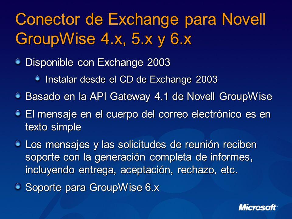 Conector de Exchange para Novell GroupWise 4.x, 5.x y 6.x Disponible con Exchange 2003 Instalar desde el CD de Exchange 2003 Basado en la API Gateway