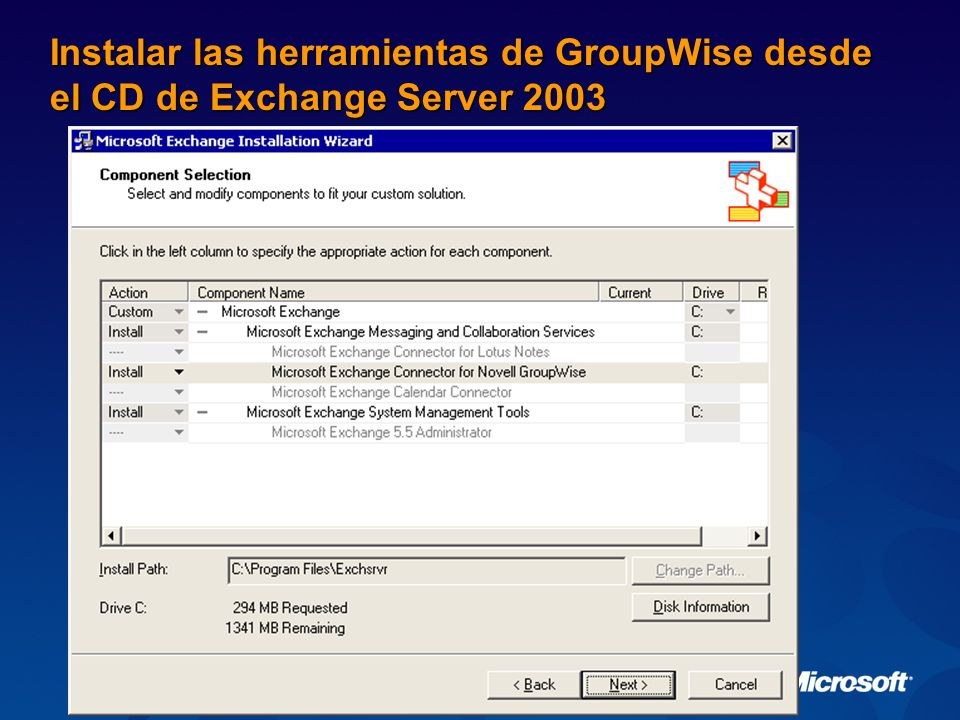 Conector de Exchange para Novell GroupWise Exchange Exchange y Windows Server Búsqueda de Free/Busy Sincronización de directorio Solicitudes de mensajes / reuniones API Puerta de enlace de GW GroupWise NetWare Server EL Ruteador Instale el cliente de NetWare para Windows, el cliente de GroupWise y NetWare Admin Instale la API Gateway 4.1 de GroupWise con el Patch 2