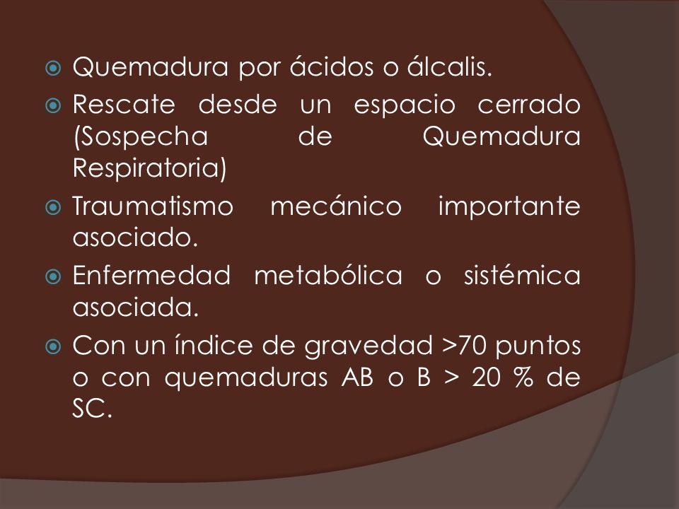Quemadura por ácidos o álcalis. Rescate desde un espacio cerrado (Sospecha de Quemadura Respiratoria) Traumatismo mecánico importante asociado. Enferm