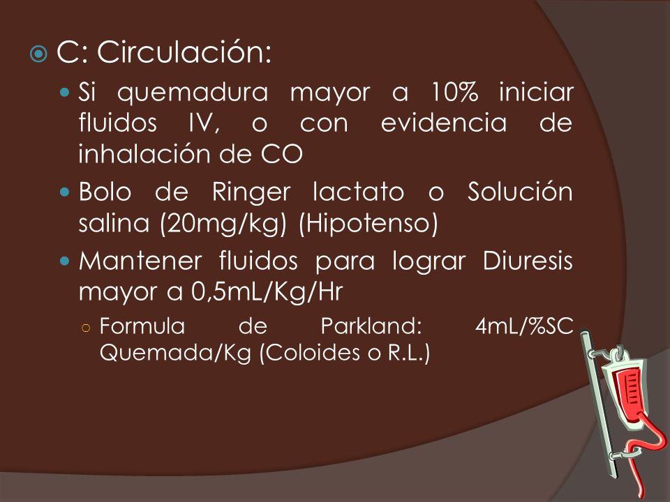 C: Circulación: Si quemadura mayor a 10% iniciar fluidos IV, o con evidencia de inhalación de CO Bolo de Ringer lactato o Solución salina (20mg/kg) (H