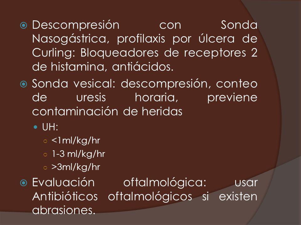Descompresión con Sonda Nasogástrica, profilaxis por úlcera de Curling: Bloqueadores de receptores 2 de histamina, antiácidos. Sonda vesical: descompr