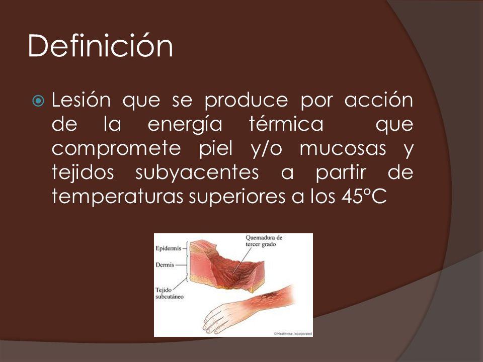 Definición Lesión que se produce por acción de la energía térmica que compromete piel y/o mucosas y tejidos subyacentes a partir de temperaturas super