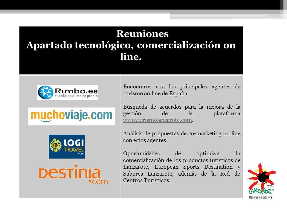 Reuniones Apartado tecnológico, comercialización on line. Encuentros con los principales agentes de turismo on line de España. Búsqueda de acuerdos pa