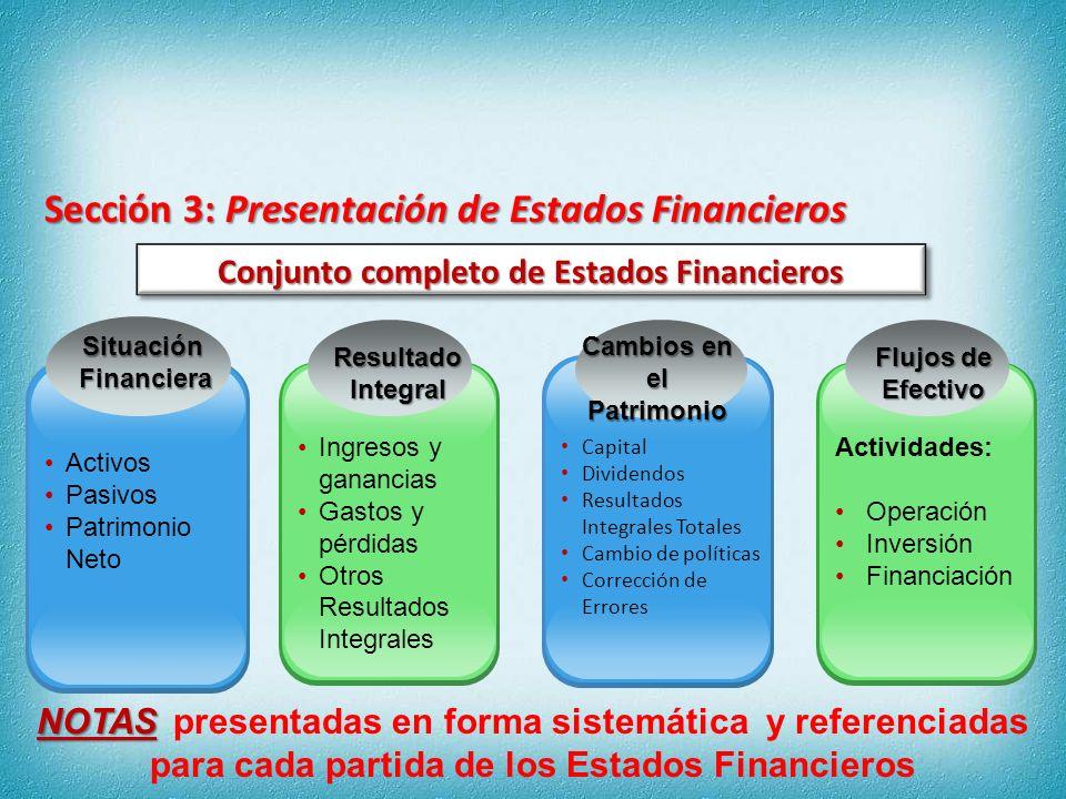 Presentan razonablemente SITUACIÓN FINANCIERA RENDIMIENTO FINANCIERO FLUJOS DE EFECTIVO Sección 3: Presentación de Estados Financieros Los Estados Financieros Párrafo 2