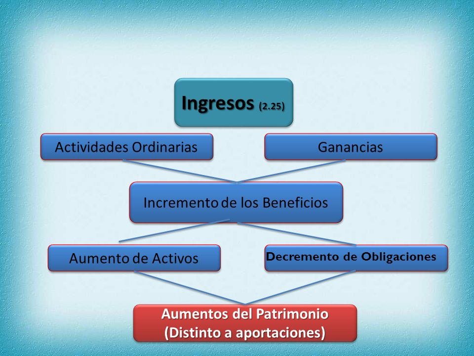 GASTOS(2.26)GASTOS(2.26) Decremento de los Beneficios Decremento del Patrimonio (Distinto a Dividendos) Decremento del Patrimonio (Distinto a Dividendos) Actividades Ordinarias Pérdidas Disminución de Activos Aumento de Pasivos PRINCIPIOS Y CONCEPTOS BÁSICOS